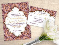 Arabian Nights Moroccan Printable Wedding Invitation design No. 295 - personalized invitation for wedding, bridal shower, baby shower DIY