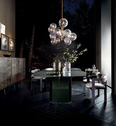Lamps and Lighting– Home Decor : Each Bolle 6 hanging lamp by Gallotti&Radice looks unique due to the hand burnished brass finish -Read More - Bubble Chandelier, Luxury Chandelier, Luxury Lighting, Home Lighting, Lighting Design, Light Bulb Chandelier, Lighting Stores, Sputnik Chandelier, Home Decor