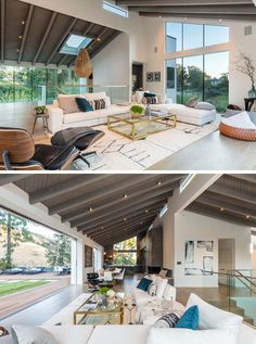 This large and open modern interior features a vaulted ceiling, plenty of windows, while white oak flooring, and a wall of glass that opens to the backyard. #ModernLivingRoom #InteriorDesign #Windows #VaultedCeiling