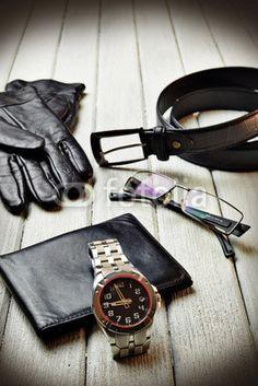#accessories #fashion #man #gloves #belt #glasses #watch #clock #wallet