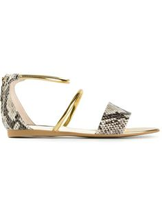 STELLA MCCARTNEY Metallic Strap Sandal. Perfect spring sandal, the gold metal and snake skin texture is a perfect accessory to a simple day dress or jeans!  Heatherraemitchell.com #stellamccartney #goldsandal #hrmfashionstyle