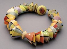 Cynthia Toops is amazing. Her micromosaics are things of beauty and her senses of form and color are very evident in pieces like this. It may be Winter but you can feel the warmth of Spring in this bracelet. Polymer Clay Bracelet, Polymer Beads, Fimo Clay, Polymer Clay Art, Lampwork Beads, Clay Earrings, Jewelry Crafts, Jewelry Art, Jewlery