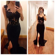 Black Prom Dress With Slit pst0515