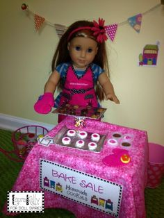 Camp Doll Diaries – Doll Sized Bake Sale with Button Cookies — Doll Diaries My American Girl Doll, American Girl Crafts, American Girl Clothes, Girl Doll Clothes, Doll Clothes Patterns, Ag Doll Crafts, Diy Doll, Ag Dolls, Girl Dolls