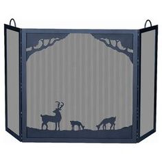 "Wrought iron fireplace screen with deer in forest scene and 3 panels.  Product: Fireplace screenConstruction Material: Wrought ironColor: BlackFeatures:  Handles on side panelsDeer in forest sceneThree panels Dimensions: 30"" H x 54.5"" W"