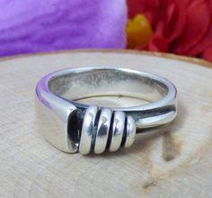 Vtg. Hans Hansen Denmark 925S Sterling Silver Modernist Ring; Applied Coil!!  #HansHansen