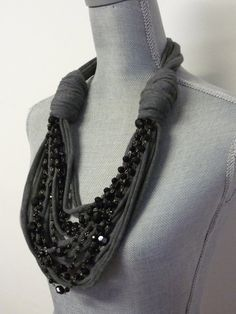 Chunky Scarf Necklace w/chains Grey & Black Beads by MarieLaMode