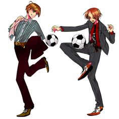Italy and Romano soccer players...in suits...*Shrugs* why the heck not