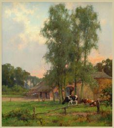 Jan Holtrop Lemmer 1917-1995 Oosterbeek Olie op doek 35 x 30 cm, € 2150,-. Jan Holtrop werd op 5 oktober 1917 in het Friese Lemmer geboren. Woonde en werkte oa in Hilversum waar hij de bekende schilder Johan F.C. Scherrewitz (1853-1903), leerde kennen. Veel hiervan is nog in zijn schilderstijl te herkennen, Holtrop exposeerde in binnen- en buitenland wo, de USA