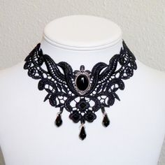 Black gothic lace choker necklace with a mounted onyx by Arthlin, $33.00
