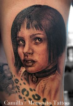 Black and grey portrait tattoo of the character Mathilda in Leon. Natalie Portman anno 1994 :)