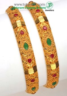 22K Fine Gold Kada with Ruby & Emerald - Set of 2 (1 Pair). - GK203 - Indian Jewelry Designs from Totaram Jewelers