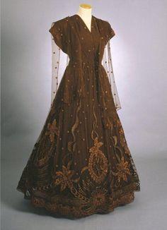 Evening Dress: 1940, silk, viscose; hand-embroidered.