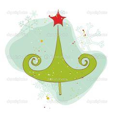Карта ретро елка - для записки, дизайн, приглашение - Стоковая иллюстрация: 7384129