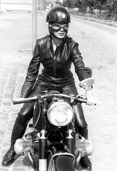 Anke Eve Goldmann - the first woman  to ride a motorcycle with a one-piece leather racing suit, which she designed with German manufacturer Harro
