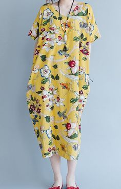 Women loose fit over plus size retro ethic flower dress maxi long dress robe #Unbranded #dress #Casual