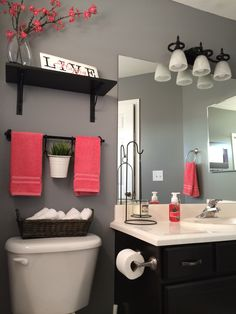 "My bathroom remodel. Love it!!! Kohls towels Kohls shower curtain Home Depot ""Anonymous"" gray paint Hobby lobby decor IKEA shelves Find More Accessories & Decorative Ideas for Your Bathroom at Centophobe.com #bathroom #Decorating Ideas"