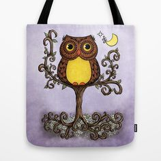 Owl in Tree Tote Bag by Malydrak Art