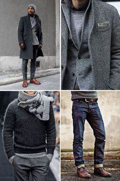 All grey, brown shoes, chocolate belt and gloves. Ultra sophisticated color combination