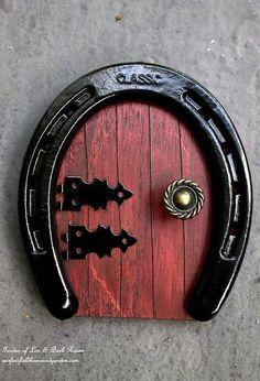 diy horseshoe fairy door, crafts, gardening, how to, repurposing upcycling, Horseshoe Fairy Door