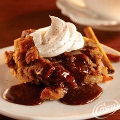 #Cinnamon #Bread #Pudding with #Caramel #Coffee #Sauce #Dessert #Recipe | Courtesy of; Crisco