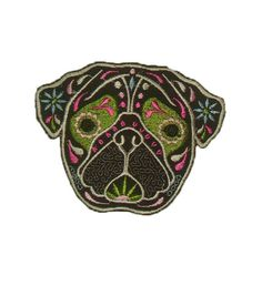 Pug Patch Cute Patch Sugar Skull Dog Animal Pretty by uniquethings