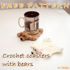 Crochet coasters with bears FREE PATTERN