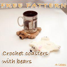 Crochet coasters with bears FREE PATTERN