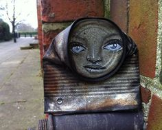 "My Dog Sighs  ..""Street artist My Dog Sighs creates gorgeously painted faces on found crushed cans, which he then leaves on the streets in random places for passers-by to take home. It is both a street art installation project and an altruistic gesture dedicated to the cause of free art for everyone via: junk-culture.com"""