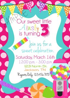 Candy Sweet Shop Birthday Party Invitations/ by punkydoodlekids, $10.00