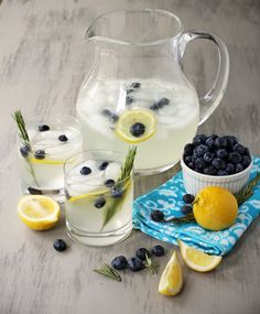 lemonade w blueberries & rosemary...