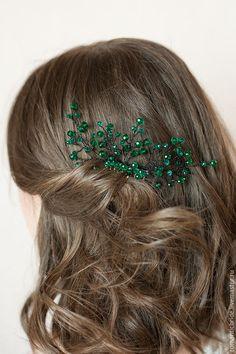 """Купить Гребень для прически """"Изумрудный"""" - зеленый, изумрудный, гребень для волос, гребень, гребень для прически, гребешок"""