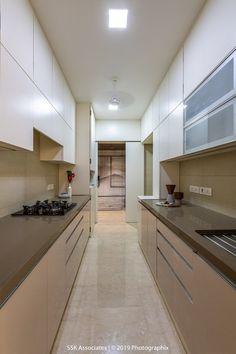 """Modernity in Tradition"" -Residence Interiors Parallel Kitchen Design, Kitchen Sink Design, Kitchen Cupboard Designs, Diy Kitchen Storage, Modern Kitchen Design, Kitchen Layout, Home Decor Kitchen, Interior Design Kitchen, Kitchen Furniture"