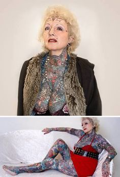 This 70 year old is the embodiment of not caring what other people think and doing what you want to do in life. Isobel Varley is the most tattooed senior woman in the world with around 75% of her body tattooed.