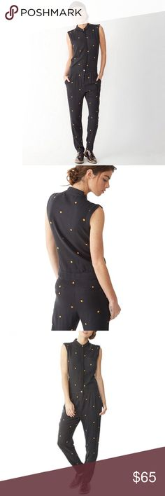 Alternative Apparel Black Ditsy Peach Jumpsuit - M Alternative Apparel Black Ditsy Peach Rayon Twill Jumpsuit.  A collared silhouette and gently pleated waistline polish your look, while a playful polka dot print boasts whimsical charm. 30'' inseam 100% rayon Alternative Apparel Pants Jumpsuits & Rompers