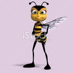 cartoon honey bee standing upright Royalty Free Stock Photo