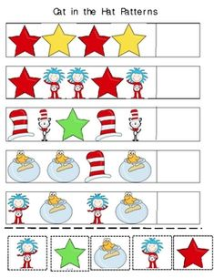 Suess patterns - Works table Best Picture For dr seuss crafts writing For Your Taste You are loo Dr. Seuss, Dr Seuss Week, Preschool Themes, Preschool Classroom, In Kindergarten, Preschool Activities, Preschool Curriculum, Homeschooling, Dr Seuss Crafts