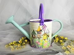 Metal Watering Can With Removable Spout Hand Painted Watering Can Decoupage Watering Can Red Poppy and Apple Basket For Garden Lover