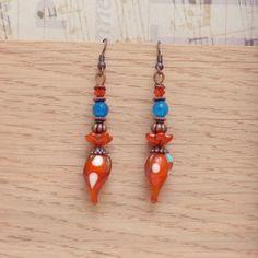 Lampwork Earrings, Bohemian Earrings, Boho Chic, Gypsy Jewelry, Fine Jewelry, Dangle Earrings, Artisan Earrings, Handmade, Mothers Day by bleuluciole on Etsy
