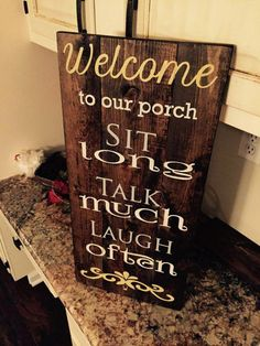 # Woodworking plans # Woodworking # Woodwork projects Welcome to our porch wood sign from GreatestLoveDesigns on Etsy Pallet Home Decor, Pallet Crafts, Diy Pallet Projects, Wood Crafts, Wood Projects, Diy Home Decor, Pallet Ideas, Barnwood Ideas, Woodworking Projects Plans