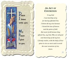 Act Of Contrition Holy Card by Hirten | Catholic Shopping .com