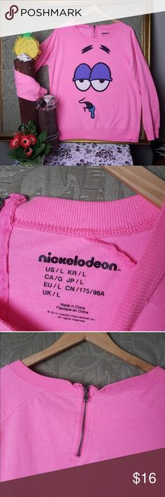 Nickelodeon Spongebob Patrick Star crewneck dope L Super adorable lightweight pink crewneck depicting the drooling face of Patrick Star from Spongebob!  Perfect 90s / 00s throwback Nicktoons nostalgia geek gear!  Size Juniors L, like new condition.  Sold as is, offers always accepted. Nickelodeon Sweaters Crew & Scoop Necks