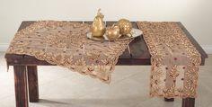 Lakshmi collection hand beaded design runner and topper in burgundy