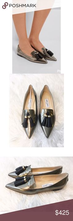 New in box Jimmy Choo patent Gabby tassel loafers These shoes are so amazing! Brand new in the box, pointy toe pewter loafers with black tassels, and gold hardware.Pristine soles. These were sold in 2016 I believe, and Olivia Palermo wore the same shoe in blue to fashion week. So perfect for almost any outfit, and so on trend!Size 37, no dust bag, yes they are authentic, absolutely NO TRADES, I will not respond to questions about trading, period. Jimmy Choo Shoes Flats & Loafers