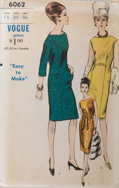 "1963 One Piece Dress Pattern, Vogue ""Easy to Make"" Bust High waist, Princes seaming, Oval Vintage Girls, Vintage Outfits, Vintage Clothing, Vintage Sewing Patterns, Clothing Patterns, 1960s Fashion, Vintage Fashion, Classic Outfits, Classic Clothes"