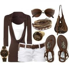 Brown & White. Love a this style for the spring/summer. Love my browns!