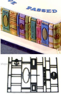 Book Ends Patchwork Cutters - frankly I don't know what the cutters are, I just really like the book ends on the sides of the cake...
