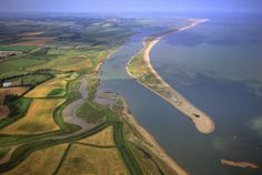 Aerial view of Orford Ness (Orfordness), a cuspate foreland shingle spit, Suffolk, England, United Kingdom, Europe