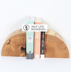 DIY half log bookends