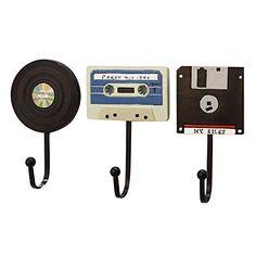 Angel Wings Retro Audiotape Equipment Disign Decorative Wall Coat Hooks For Hanging Coats / Keys /Bag Set of 3